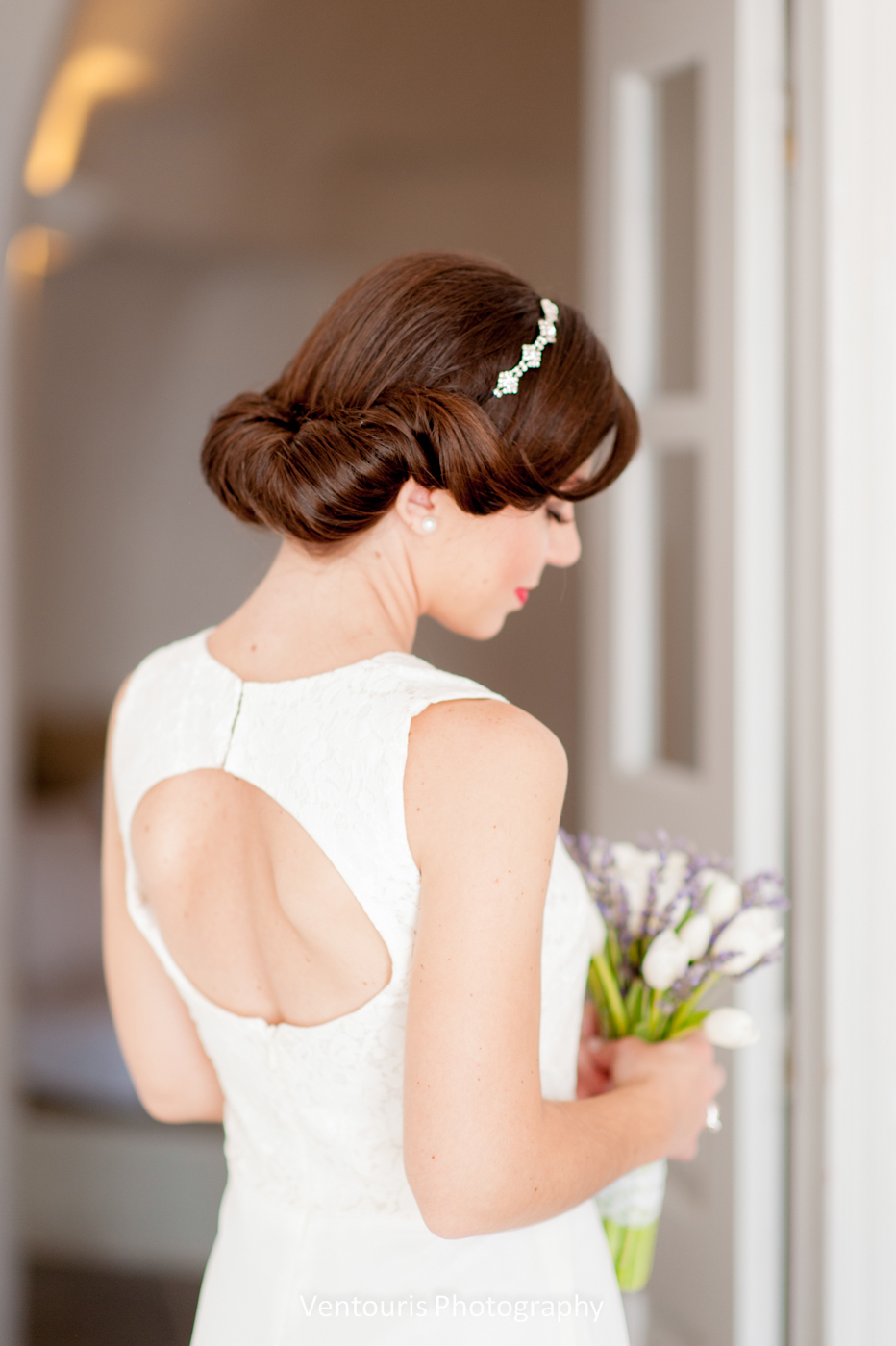 Santorini wedding- bridal hairstyling