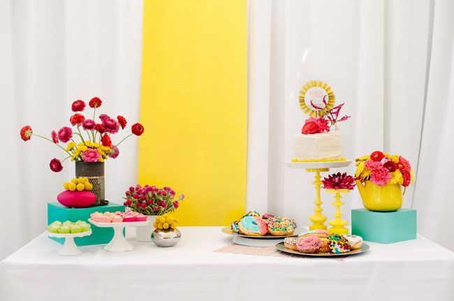 Modern dessert bar in bright colors