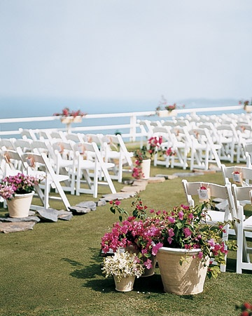 Wedding aisle Inspiration-potted plants-bougainvillea