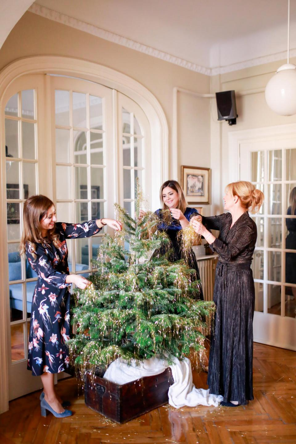 Christmas party-decorating a 60's tree