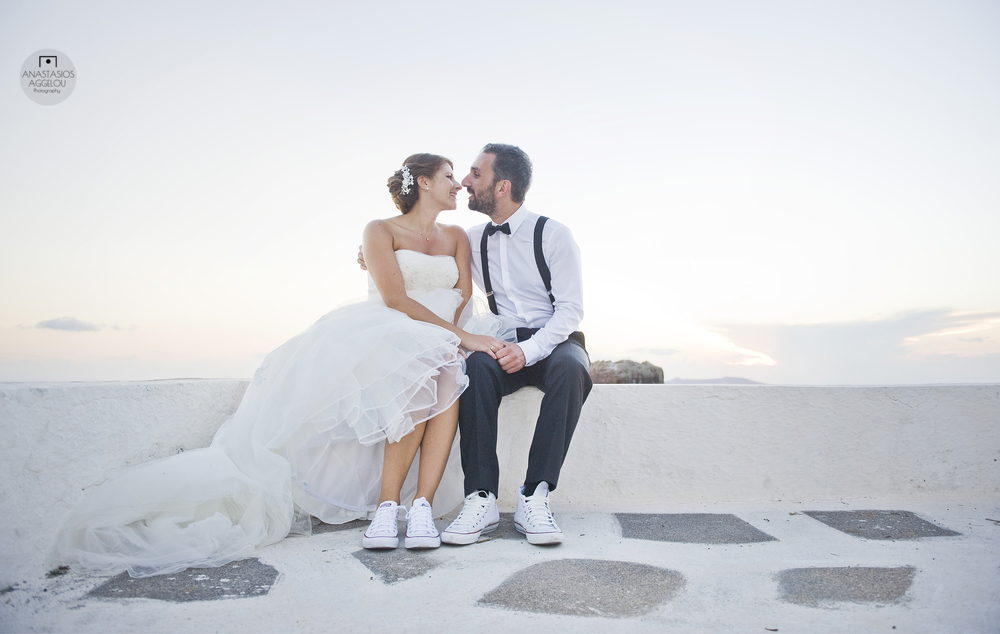 Santorini wedding- converse shoes