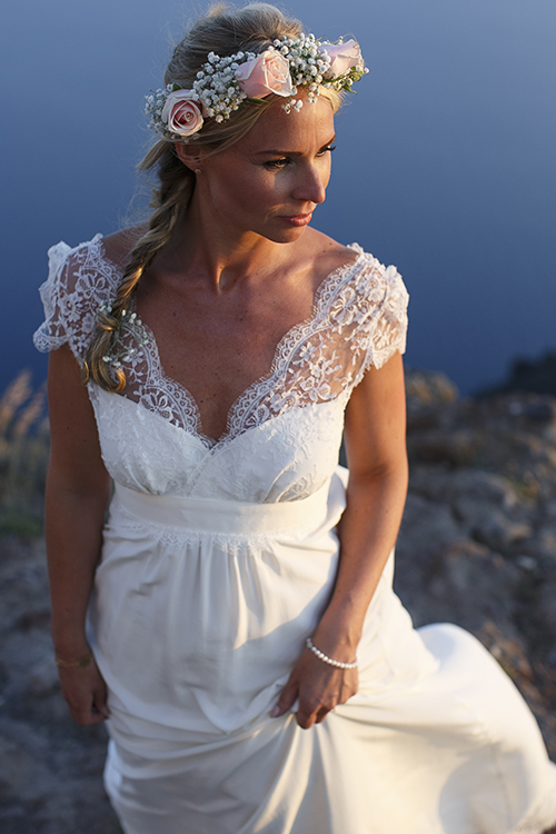 flower crown-Santorini wedding