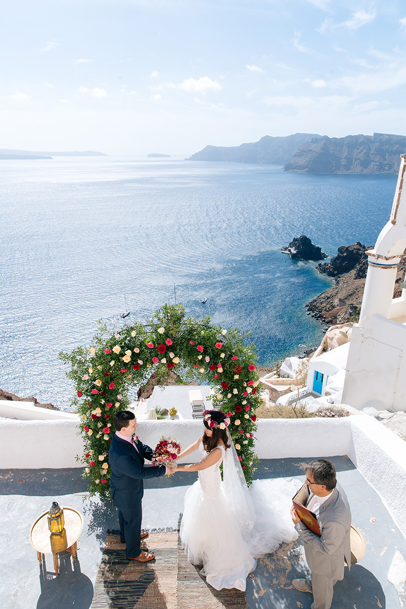 Santorini wedding -rose arch