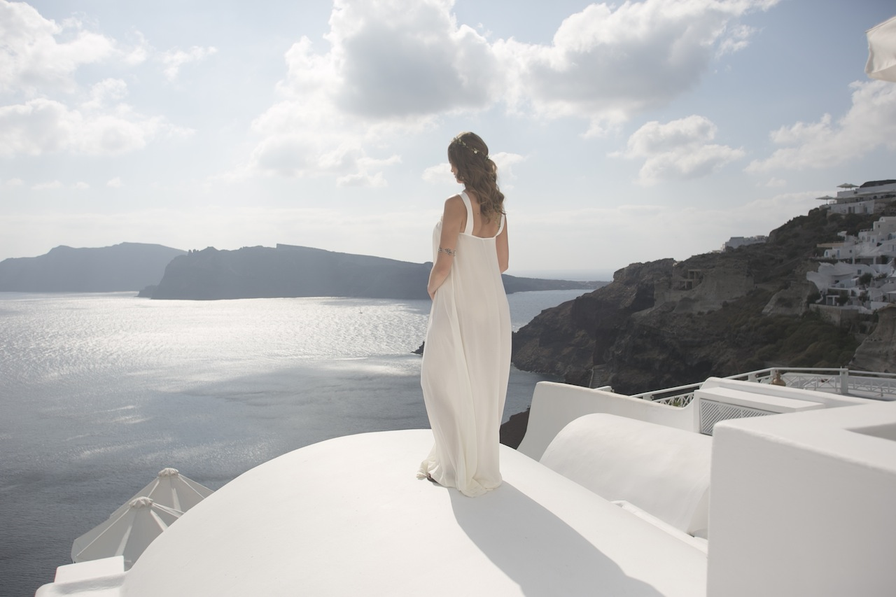 Boho styled wedding in Santorini