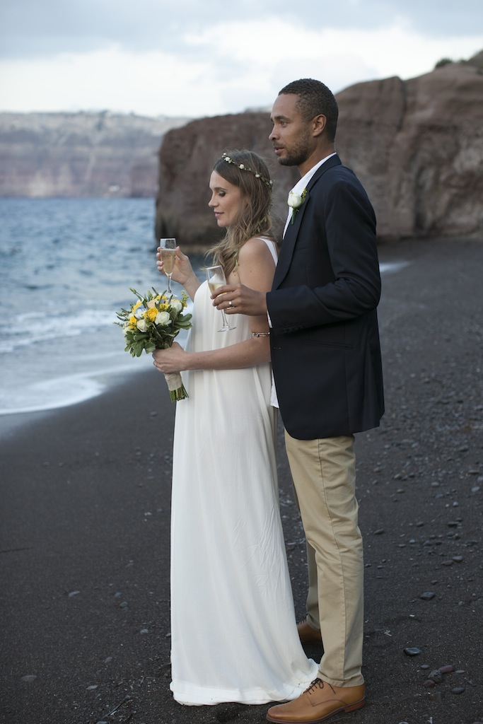 Boho styled wedding in Santorini - beach wedding
