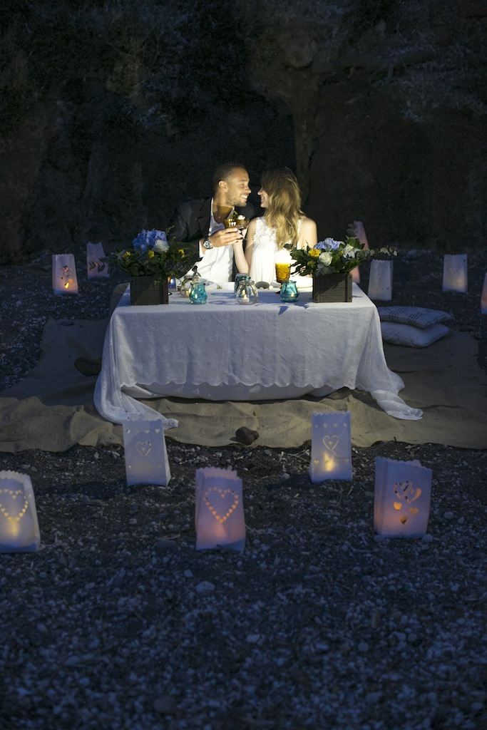 Romantic beach wedding-night picnic