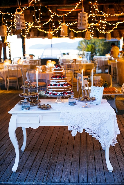 Vintage dessert table- Tie the Knot in Santorini