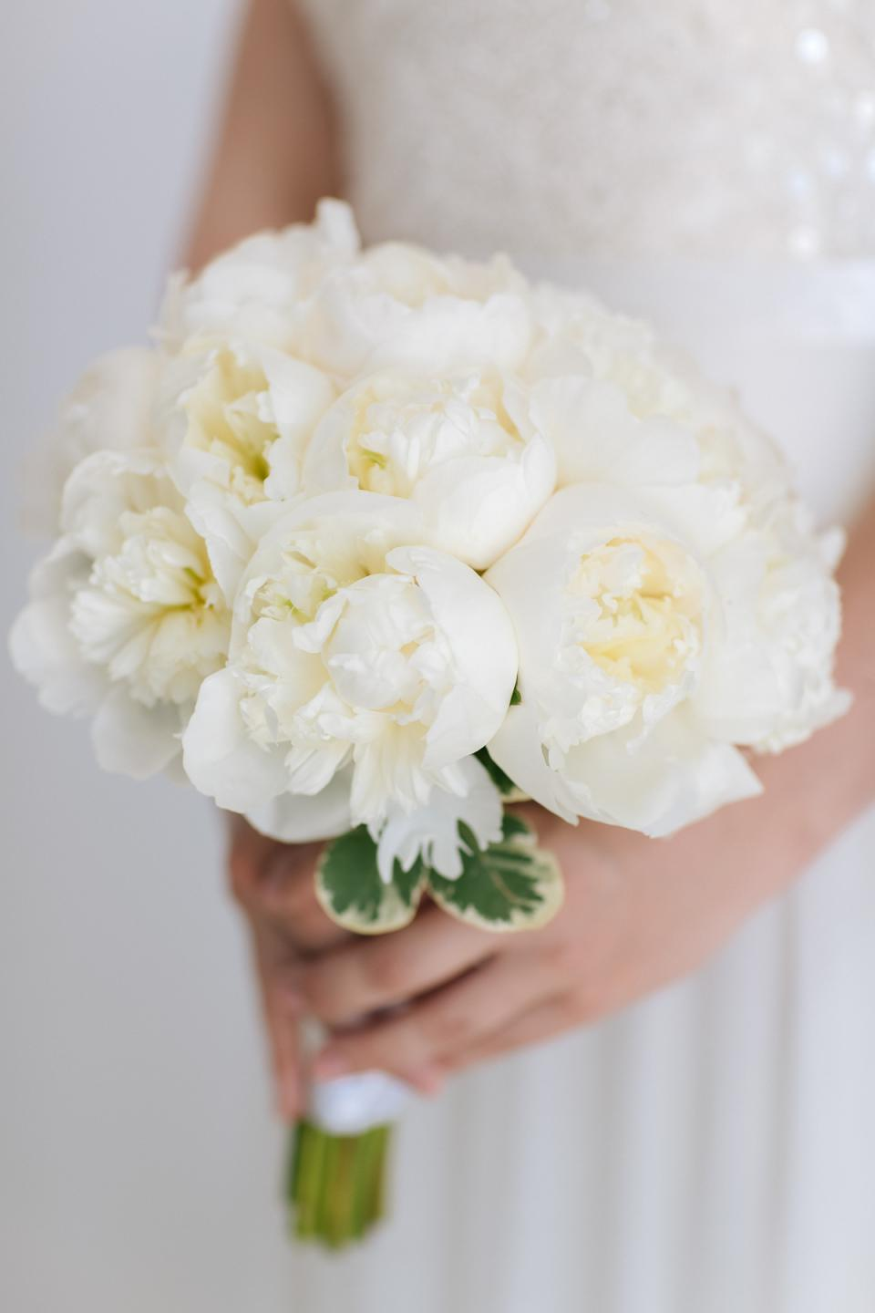 All White elegant peony bouquet- Tie the knot