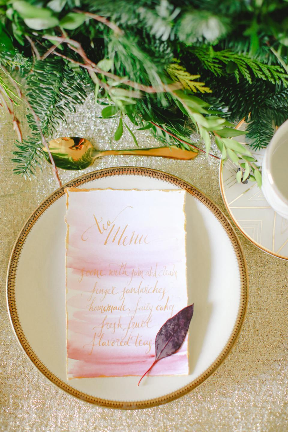 Christmas menu-calligraphy