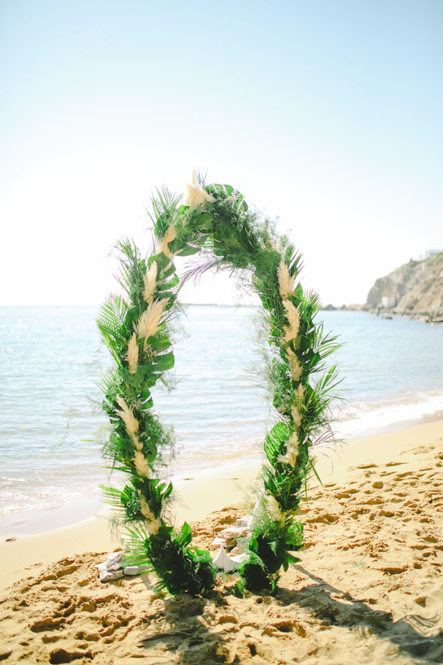 Tropical Wedding arch by Tie the Knot in Santorini