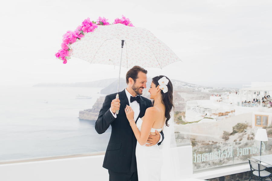 Wedding with rain- bougainvillea wedding