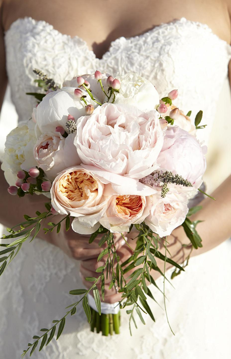 Pastel bouquet with peonies and garden roses- Tie the Knot in Santorini