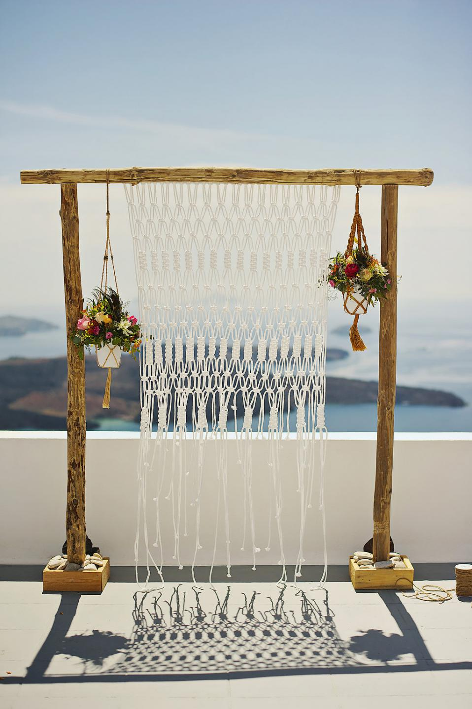 Bohemian wedding arch-macrame