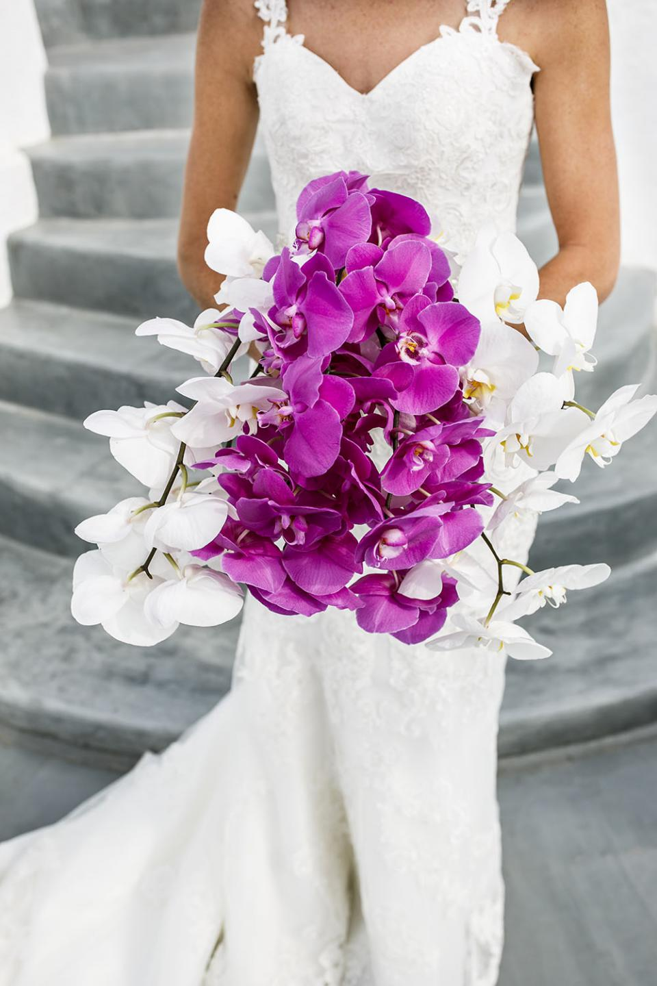 Lush white and pink orchids bouquet