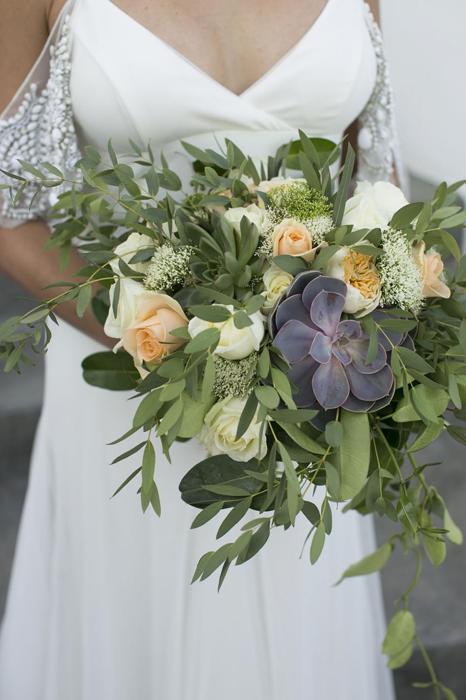 Succulent and garden roses bouquet- Tie the Knot