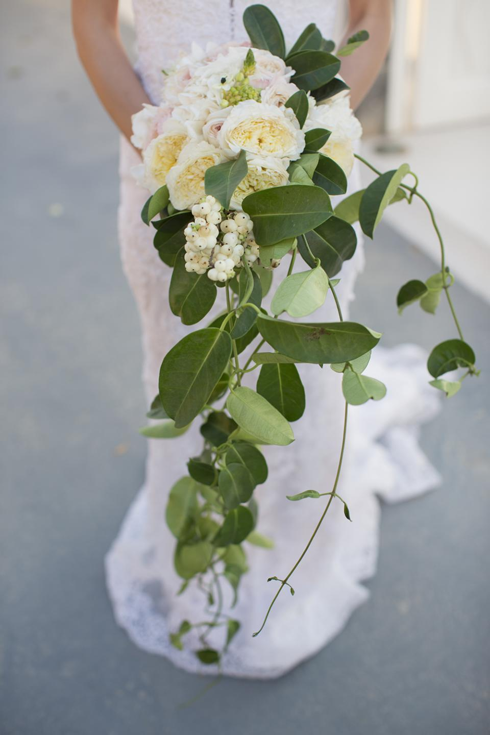 Greenery bouquet with white garden roses