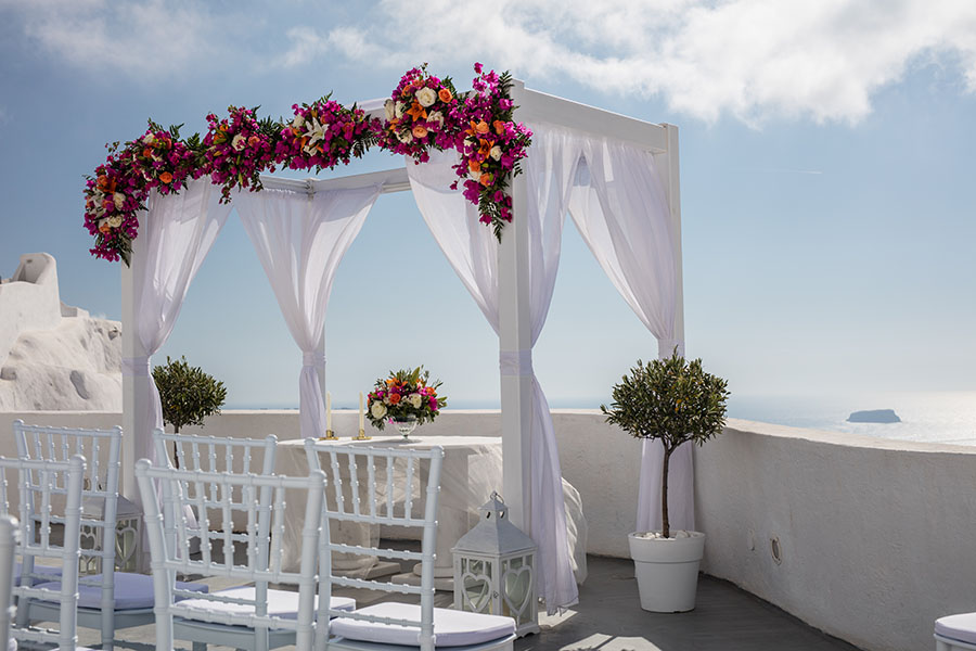 Bougainvillea tropical wedding arch