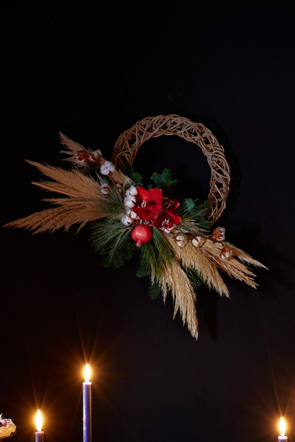 Bohemian Christmas Celebration in Moody Tones- Christmas Wreath