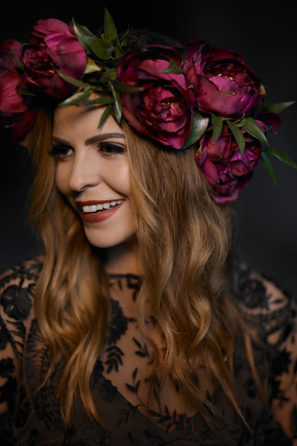 Dark peonies  crown - Bohemian moody wedding