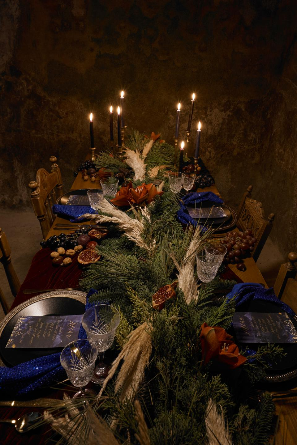 Moody Christmas Tablescape with Pampas grass