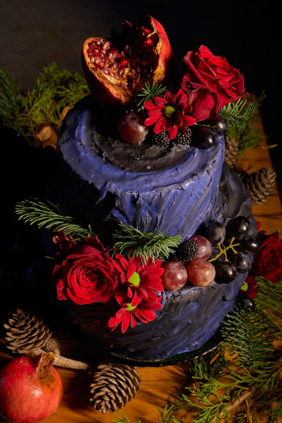 Christmas cakes in moody tones