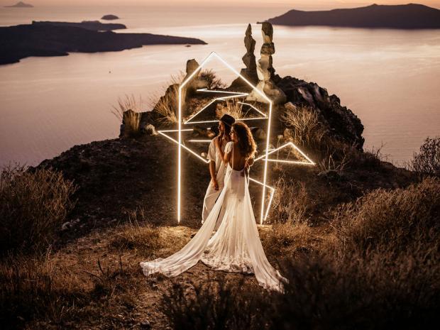 Futuristic Santorini Wedding with LED installation