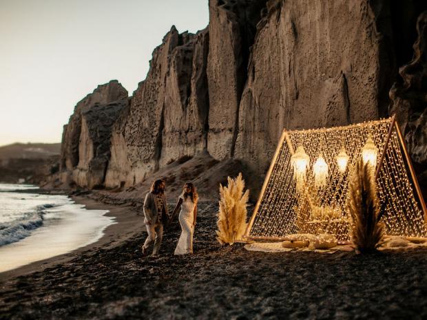 Beach destination elopement in Greece