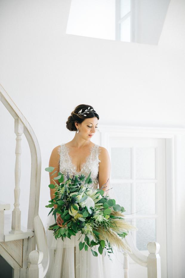 Protea & pampas grass wedding  bouquet