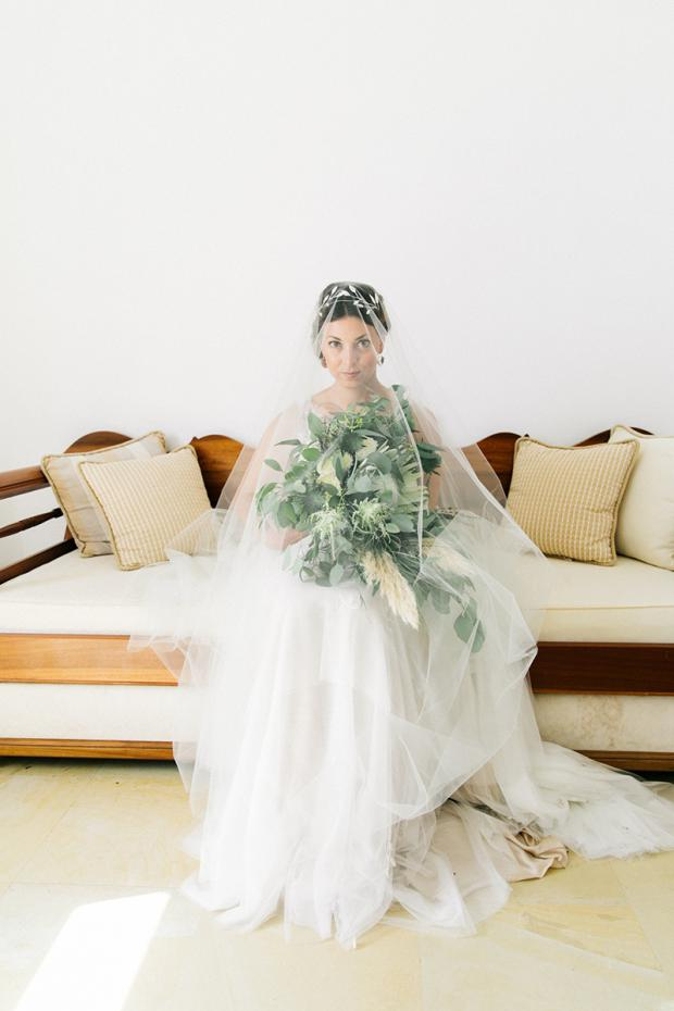 Bohemian wedding in Greece- King protea bouquet