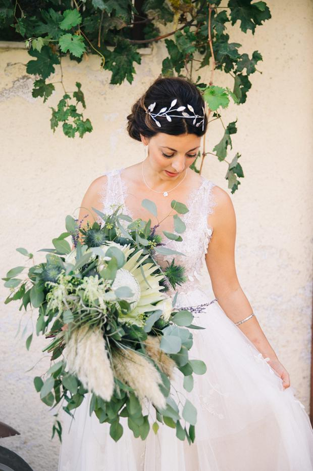 King Protea & pampas grass wedding  bouquet