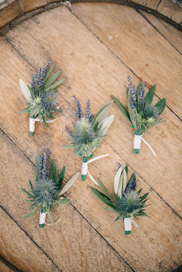 Boutonnieres - blue thistle and lavender