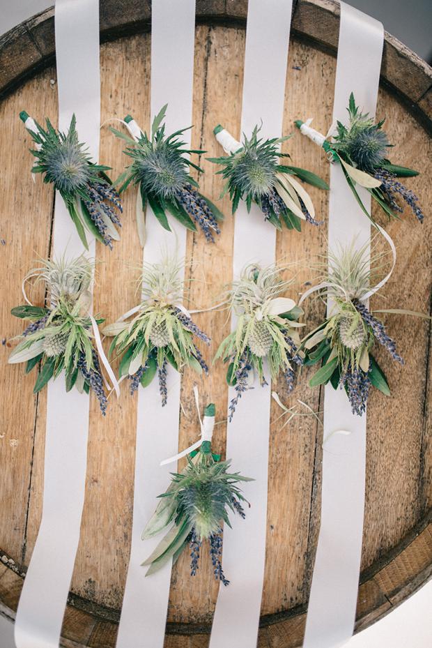 Blue thistle & lavender-Boutonnieres &  wrist corsages