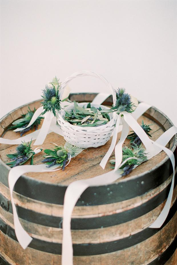 Blue thistle, lavender & olive leaves - Traditional Greek wedding