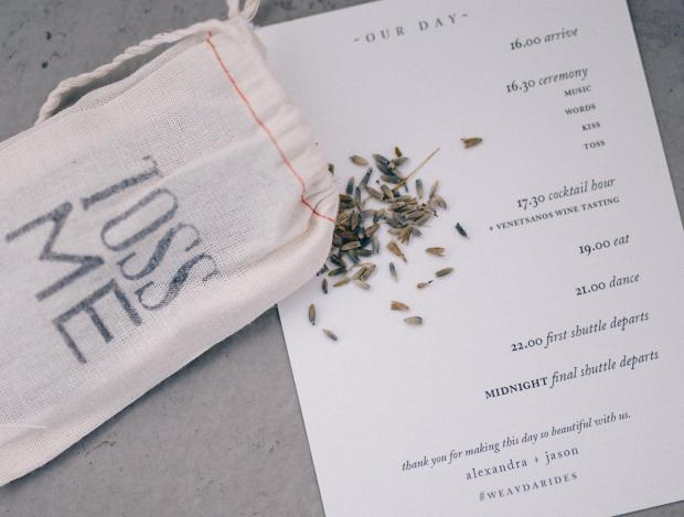 Wedding day Itinerary- stationery