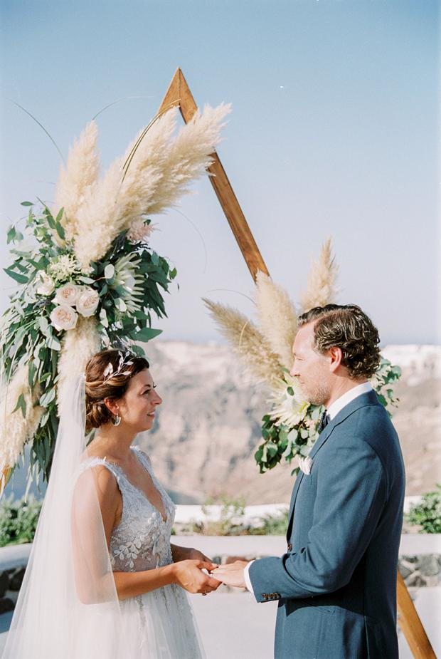 Modern bohemian wedding in Greece- Triangle arch