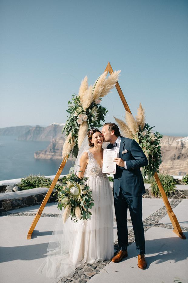 Modern bohemian wedding in Greece- Wedding ceremony