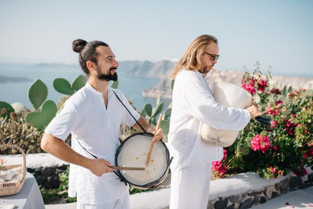 Traditional Greek musicians - Santorini wedding