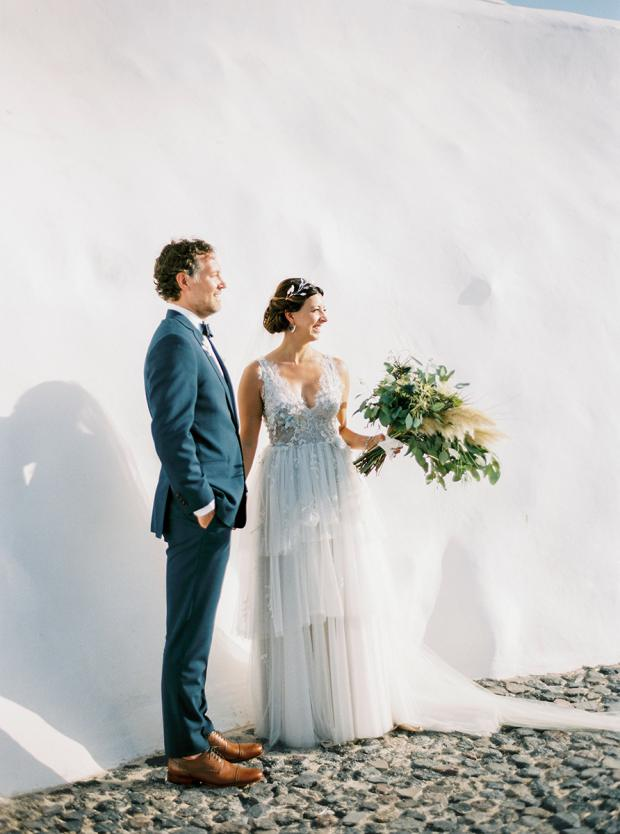 Modern & Grecian wedding in Santorini