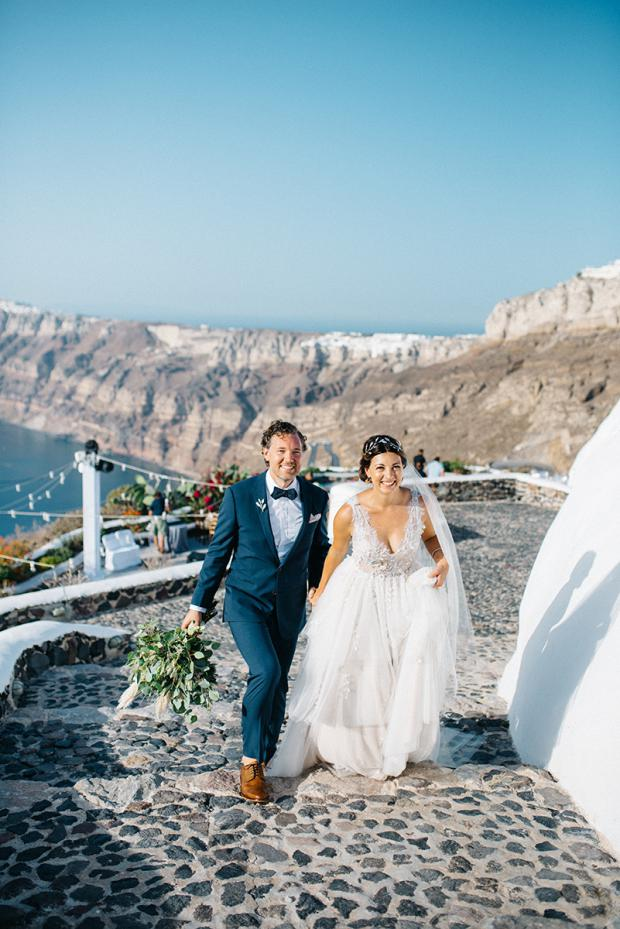 Modern & bohemian  wedding in Santorini