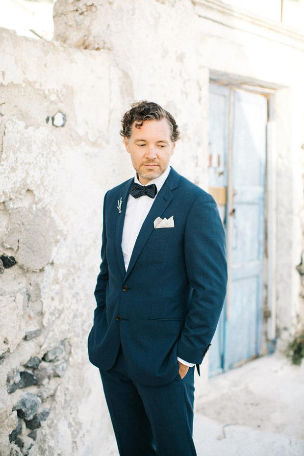 Modern & bohemian  wedding in Santorini- Stylish  groom
