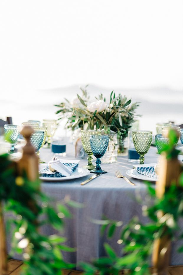 Colourful glassware - Wedding tablescape