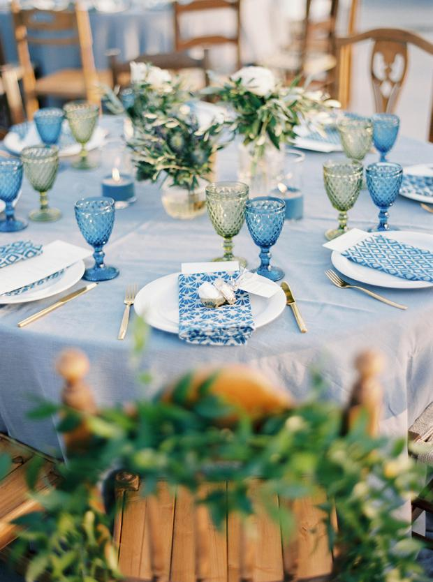 Blue and greenery bohemian wedding in Greece