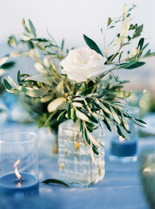Simple Grecian centrepiece with olive leaves and  garden rose