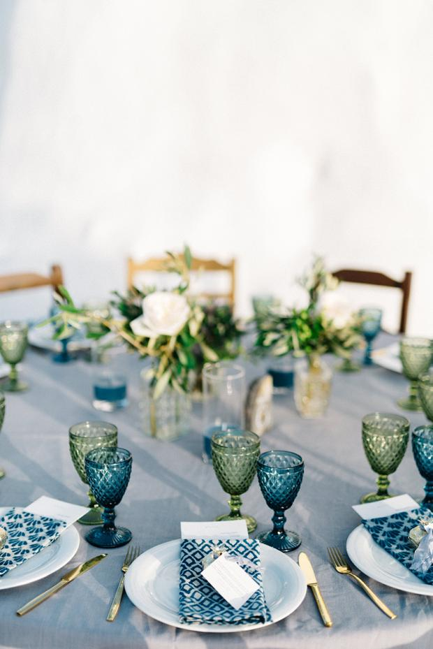 Wedding tablescape in green and blue