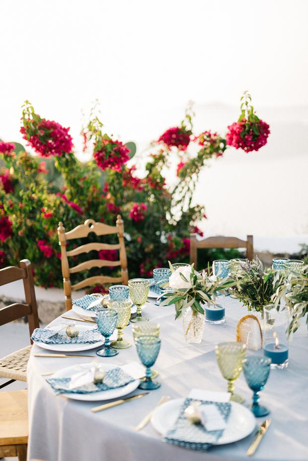 Blue and green  tablescape- Bohemian wedding in Greece