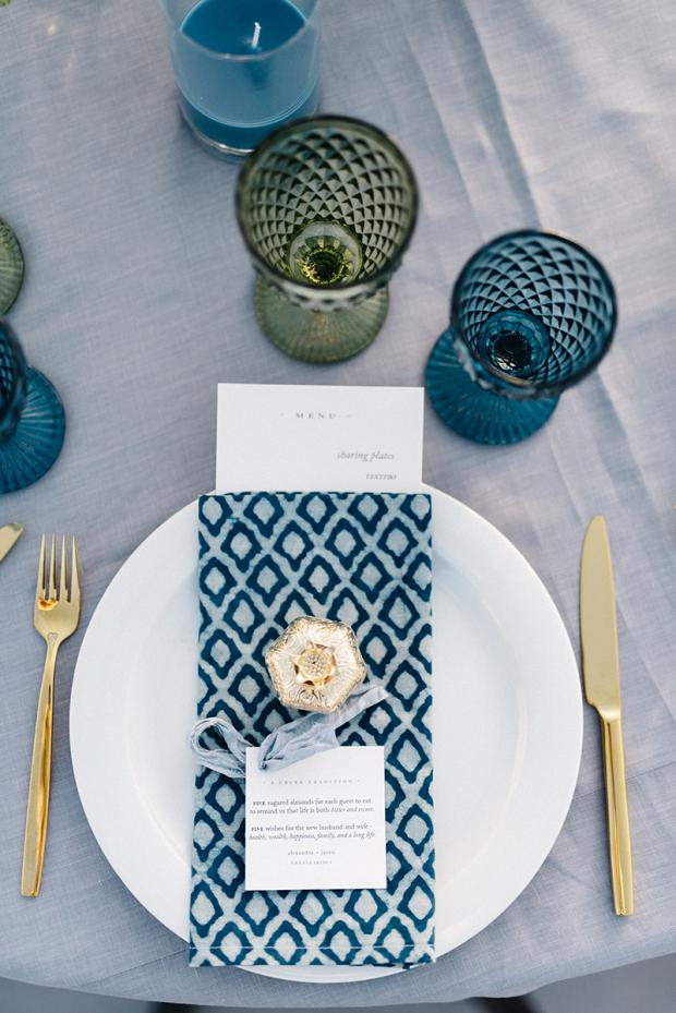 Blue pattern  napkin- Wedding  Tablescape