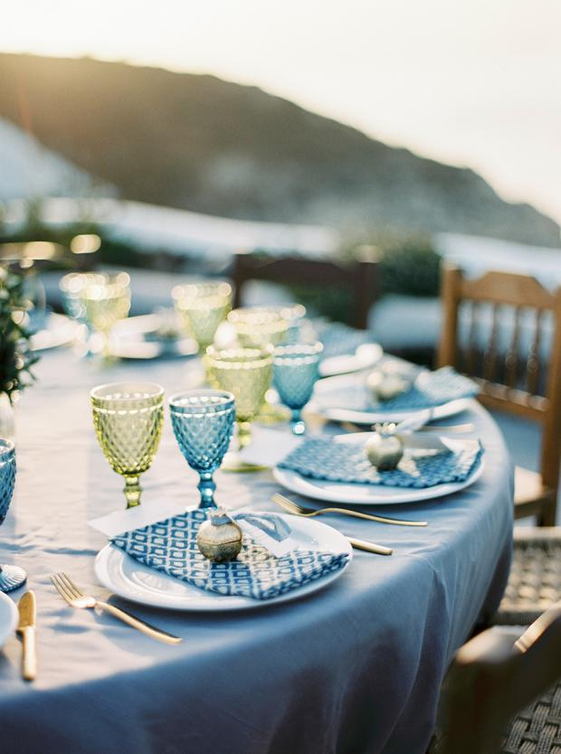 Bohemian  wedding in Greece- blue and green  wedding tablescape