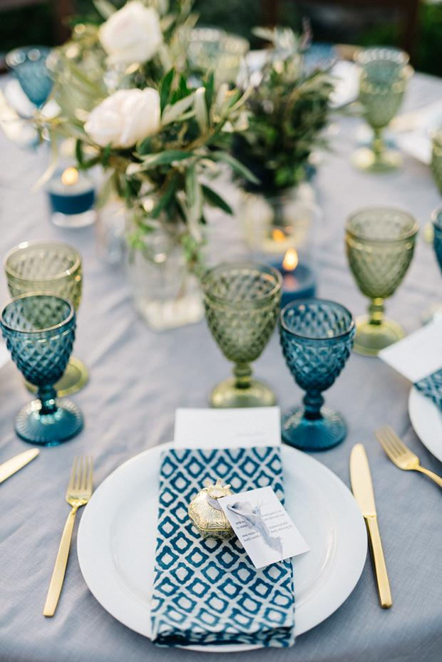 Bohemian & modern wedding in Greece - Wedding table setting