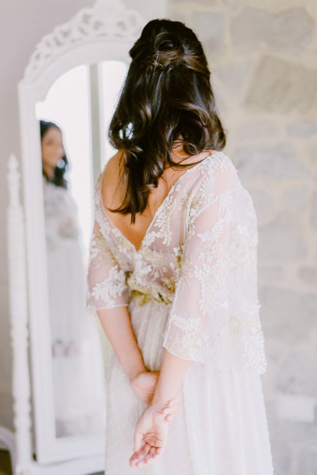 Simple bridal hairstyle -bohemian wedding