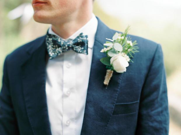 Kefalonia wedding- Groom boutonniere